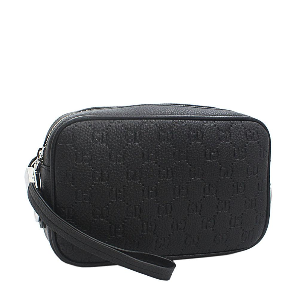 Black Embossed GD Leather 3 way Man Wristlet Purse