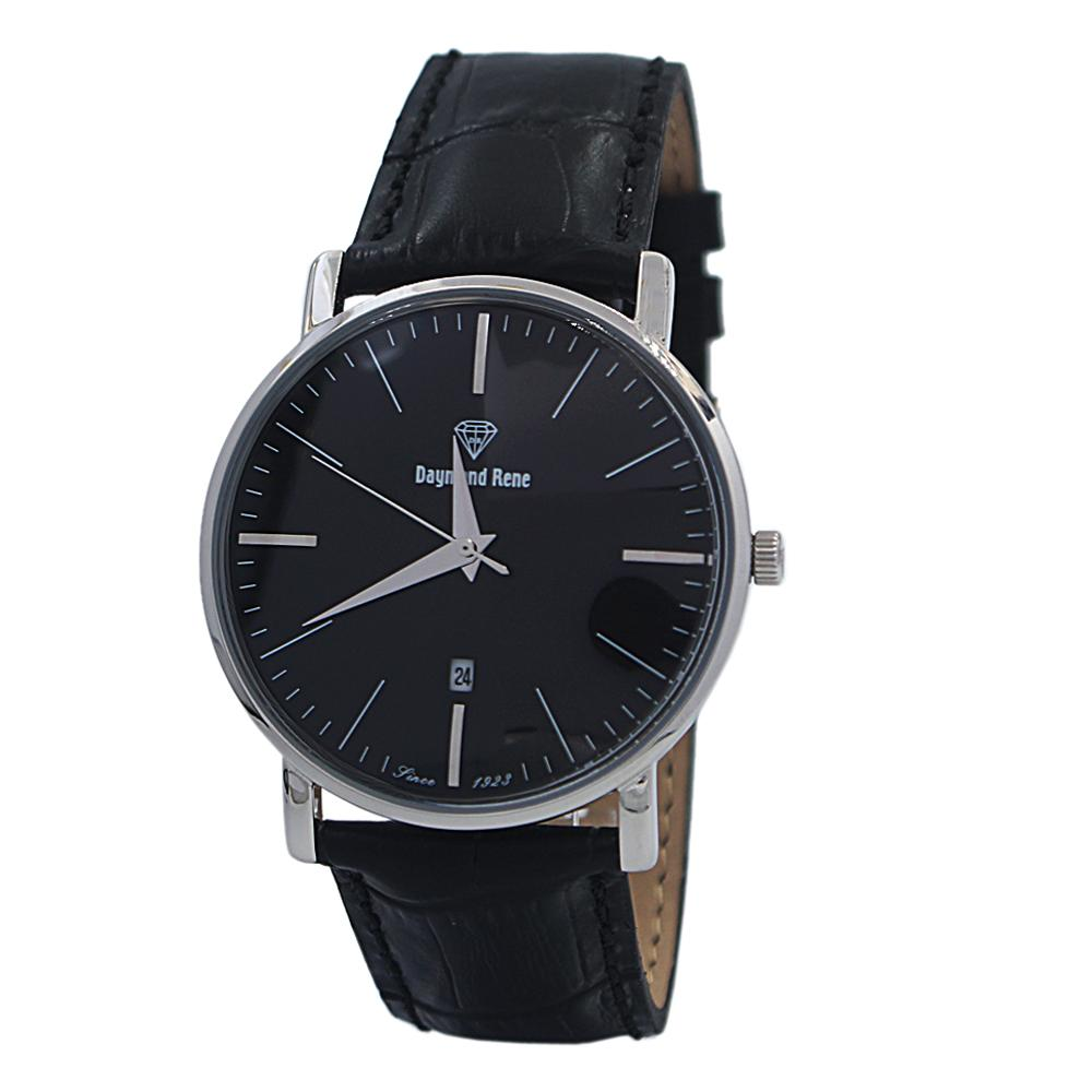DR 3ATM Black Silver Leather Flat Watch