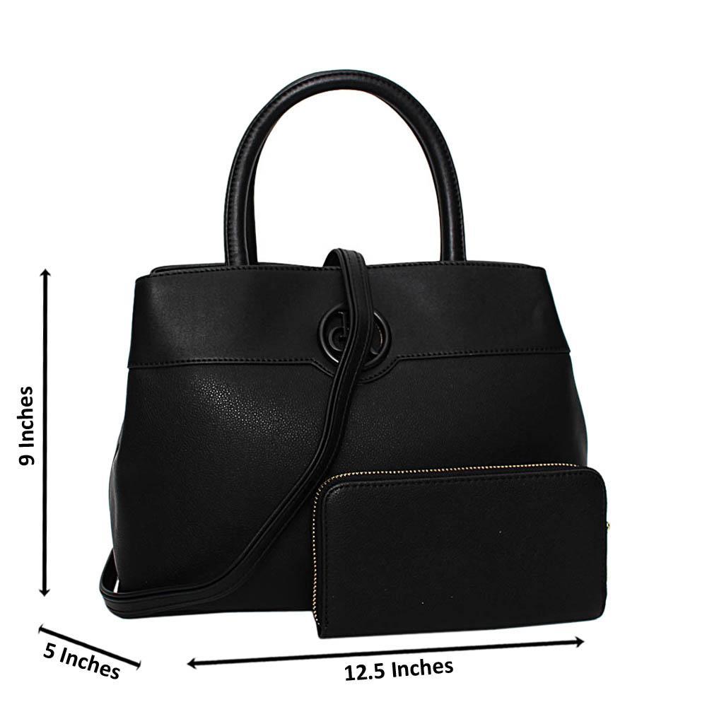 Black Esmeralda Leather Medium Tote Handbag