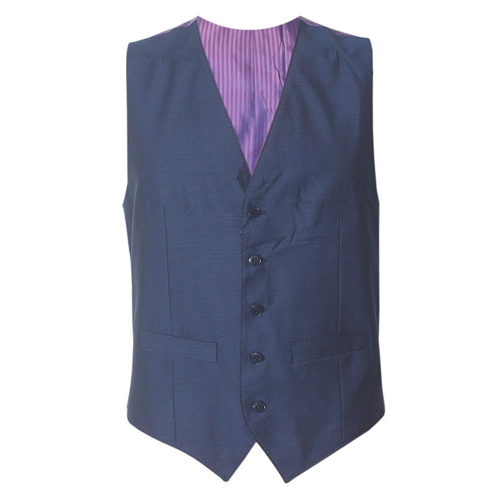 M & S Blue Cotton Tailored Fit Men Performance Waistcoat Sz S