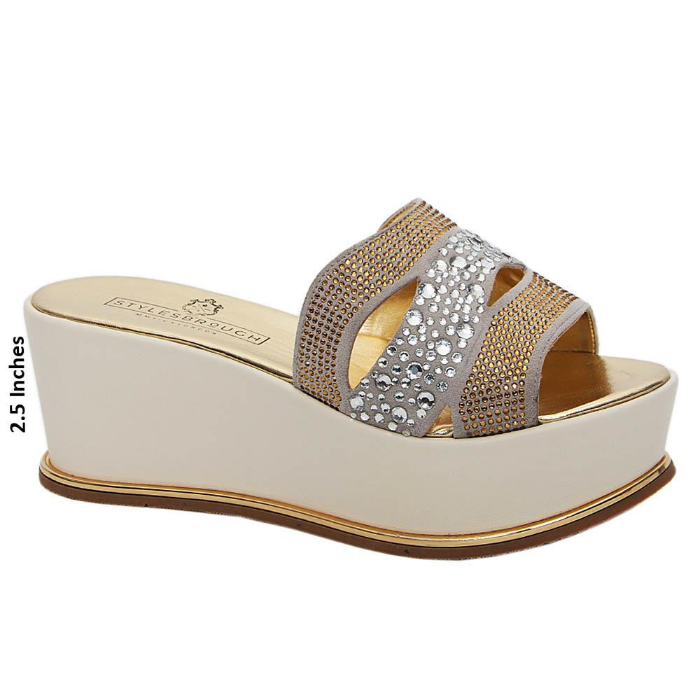 Gold Lia Studded Italian Leather Wedge