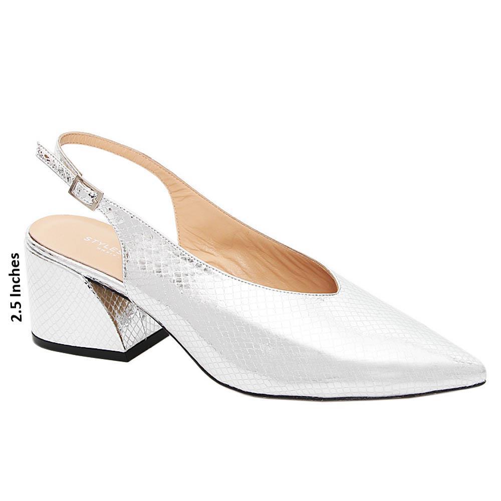 Silver Olivia Tuscany Leather High Heel Slingback Pumps