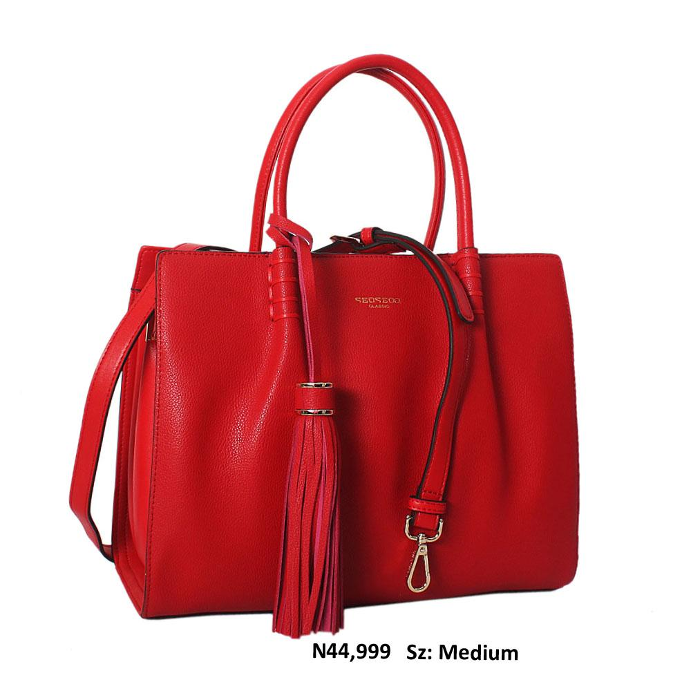 Serena Red Cowhide Leather Tote Handbag