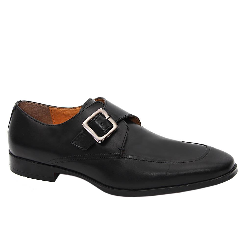 K Geiger Black Ronnie Leather Buckle Loafers