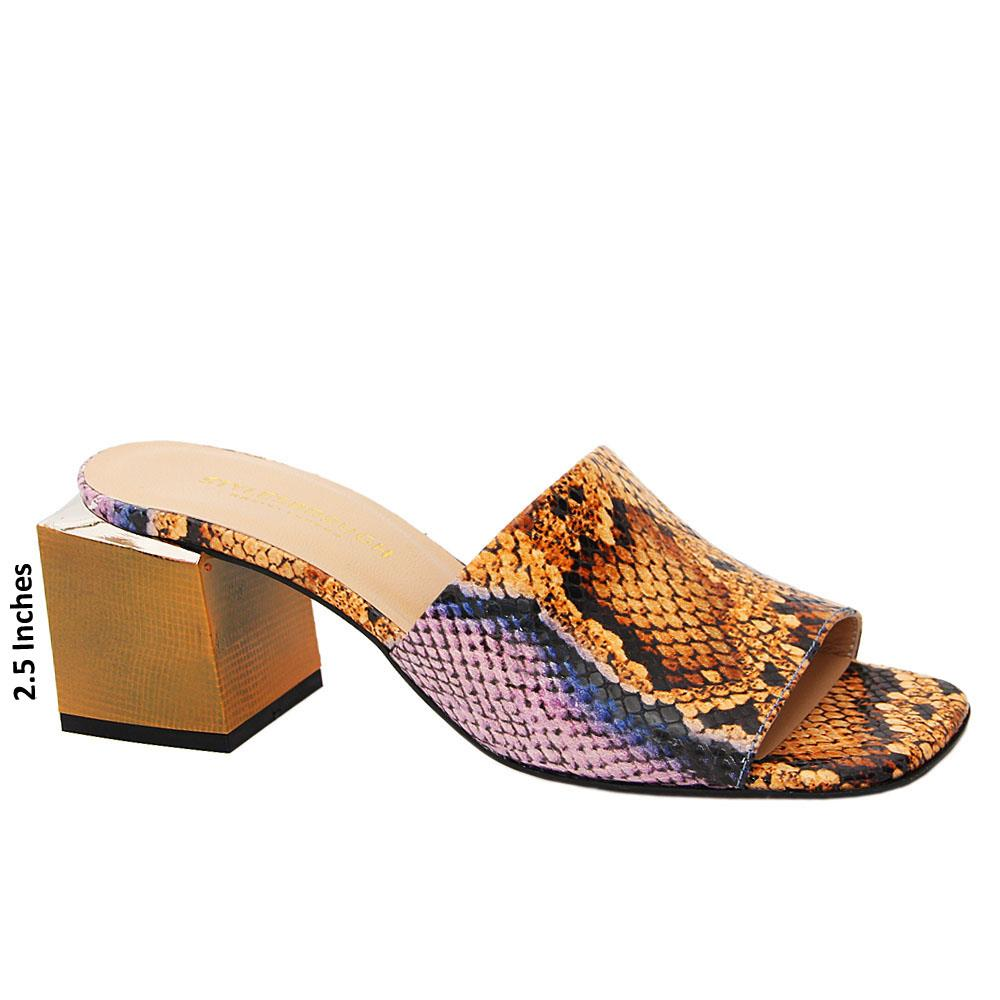 Brown Lilac Mix Elise Tuscany Leather Mid Heel Mule