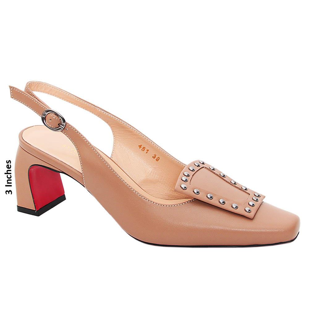 Brown Emilia Tuscany Leather High Heel Slingback Pumps