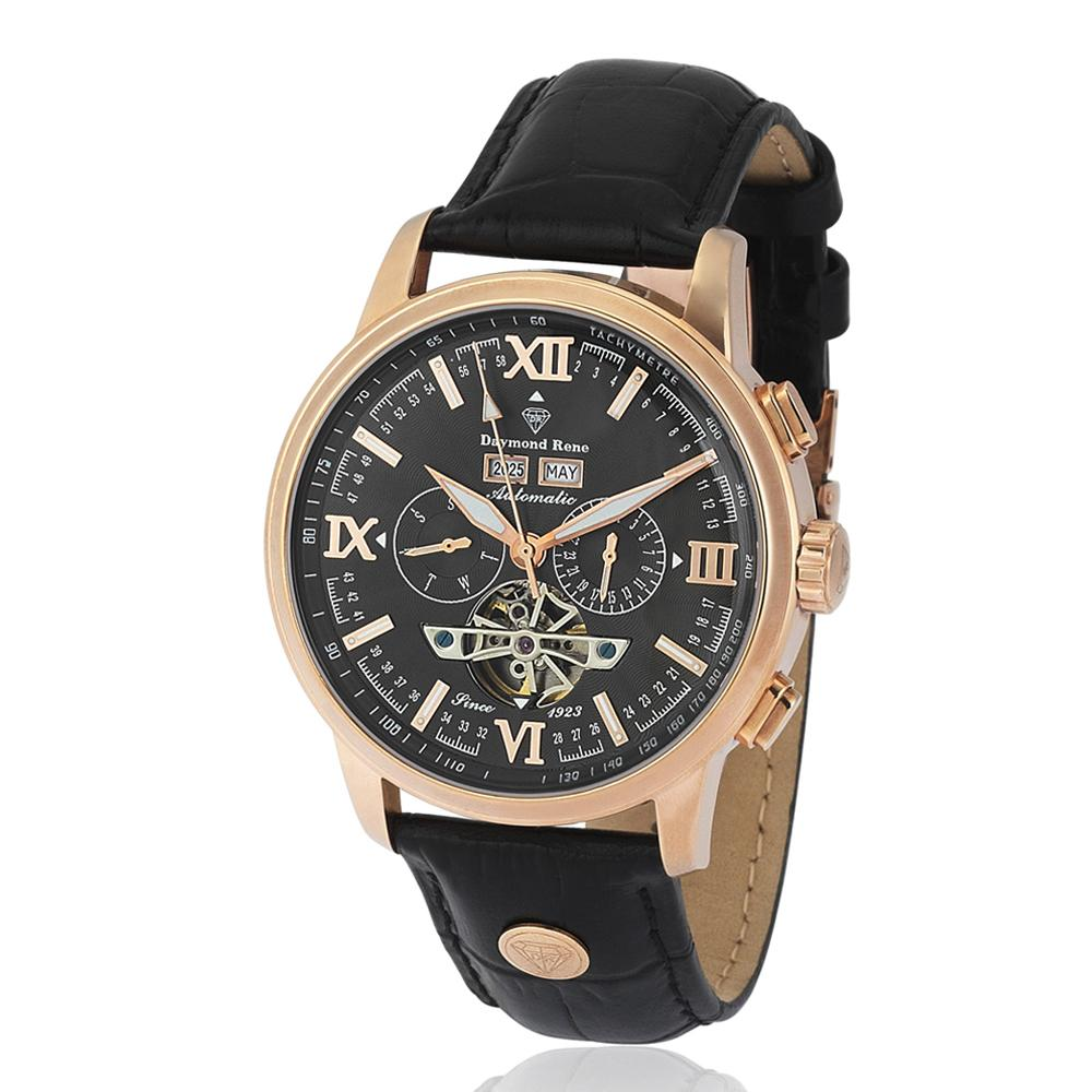 Rose Gold Black Leather Chronograph Automatic Watch
