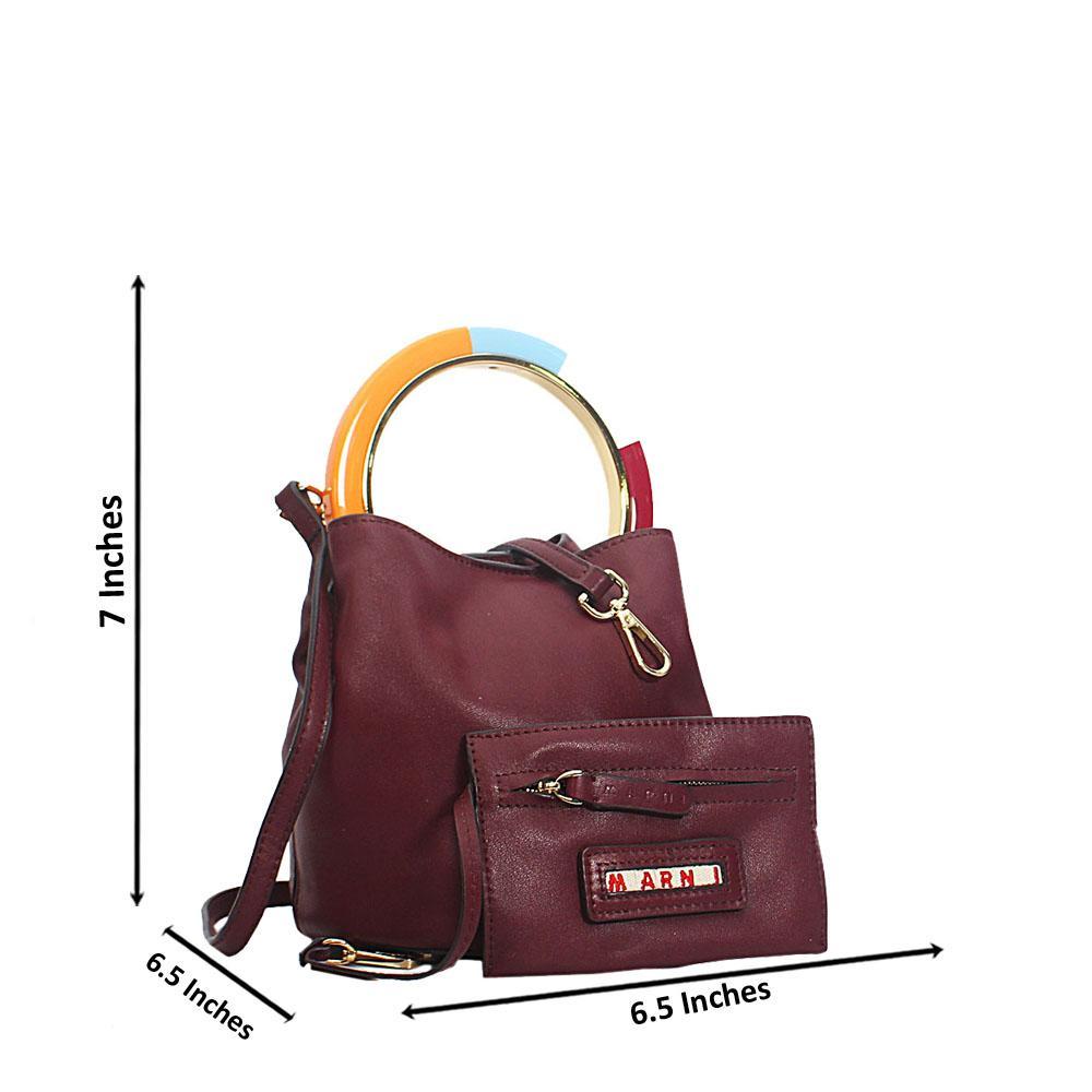 Wine Marni Montana Leather Mini Top Handle Handbag