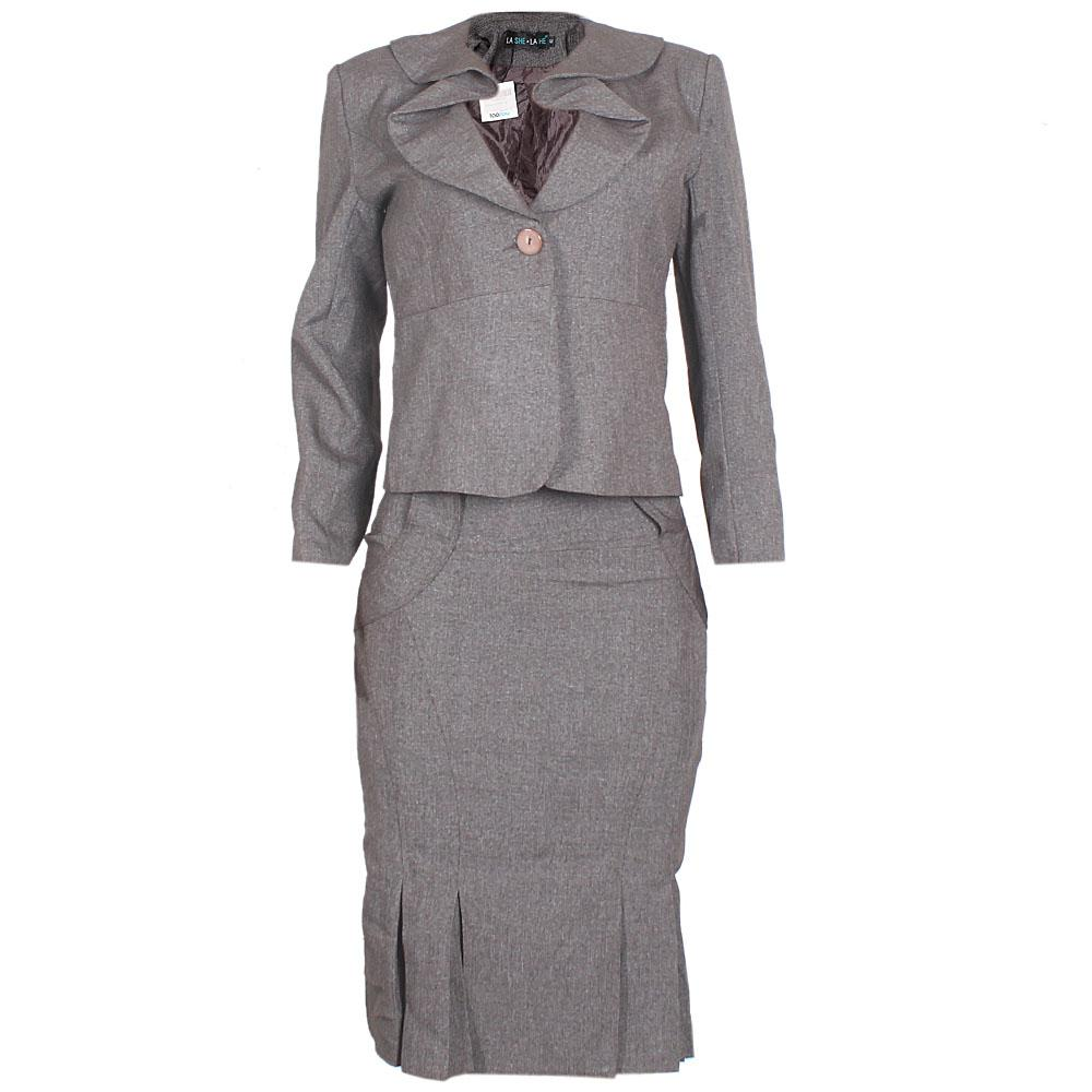 For-She-Coffee-Cotton-Ladies-Complete-Suit-Skirt-Sz-40