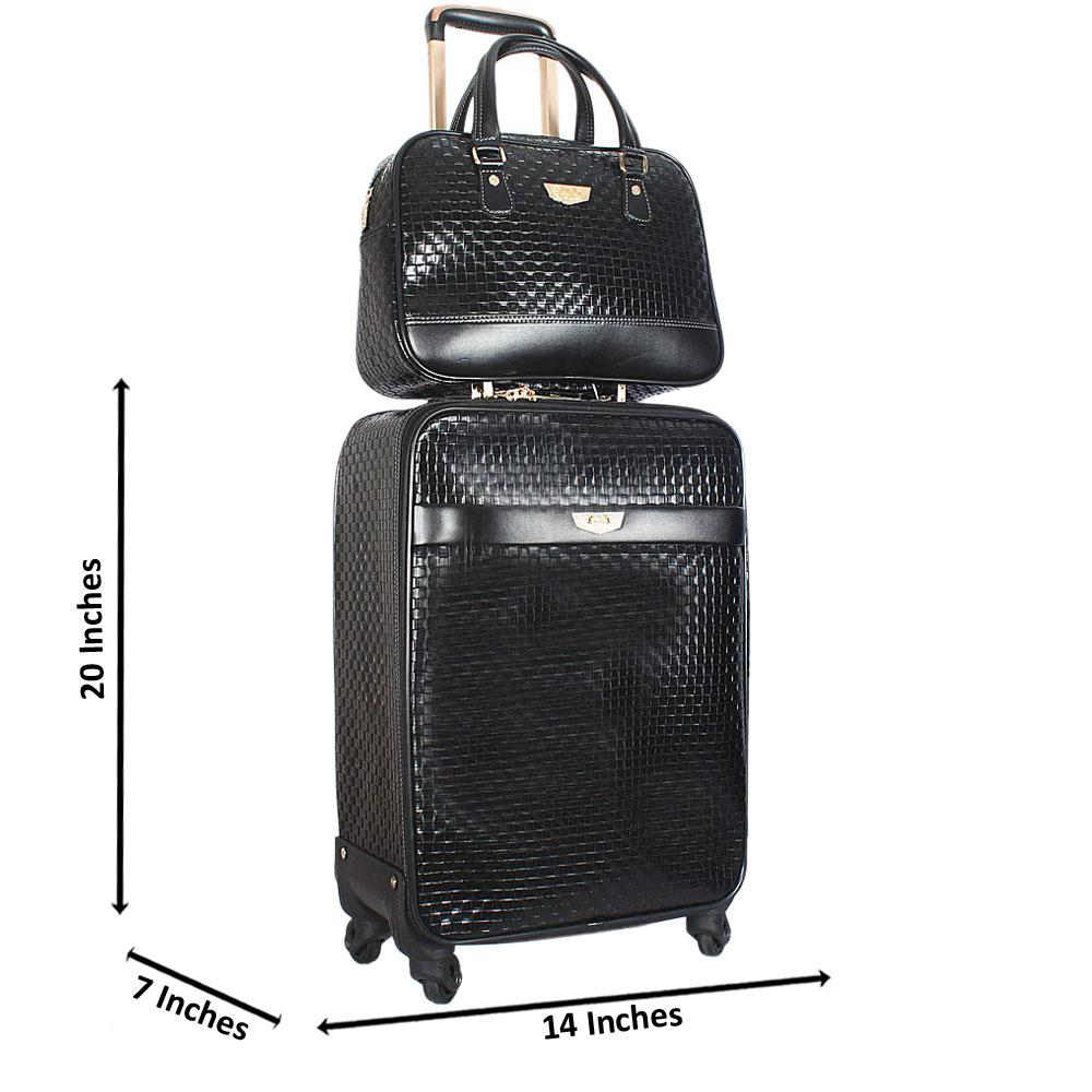 Black Pattern 20 Inch Leather 2 in 1 Carry On Luggage Wt Lock