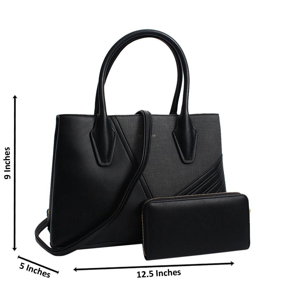 Black Camilla Mix Leather Medium Tote Handbag