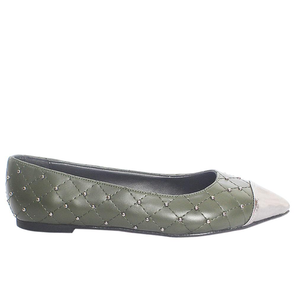 Army Green Studded Leather Pointed Toe Flat Shoe