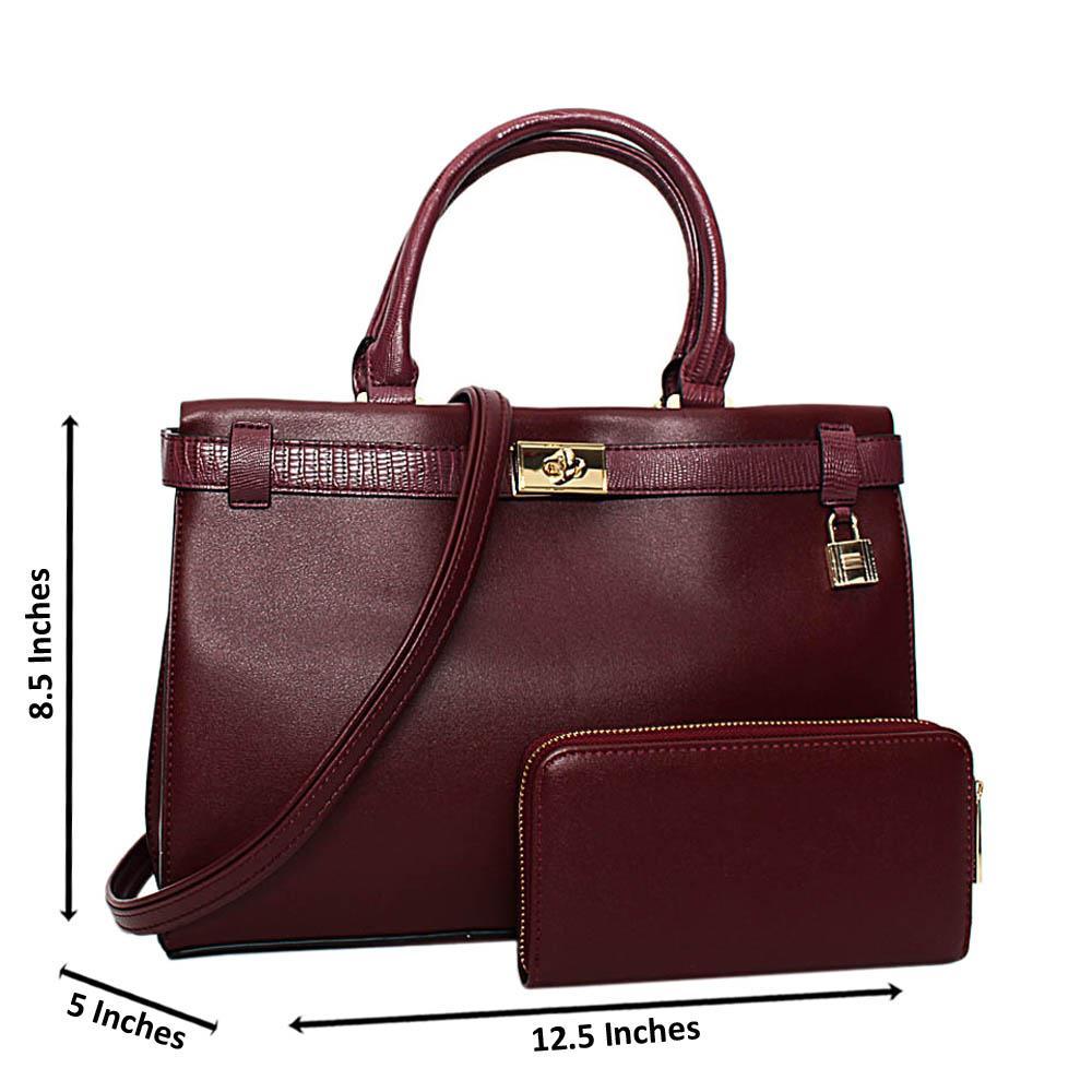 Burgundy Bridgette Leather Medium Tote Handbag