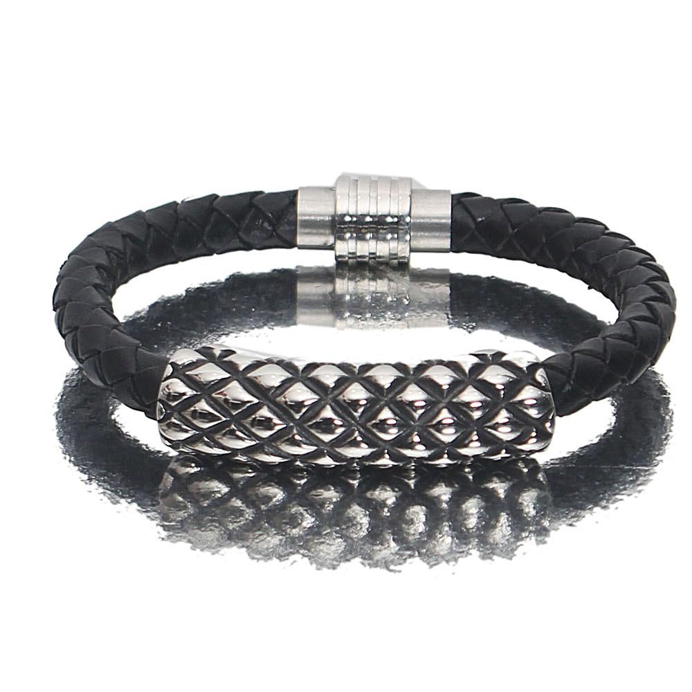 Silver Black Etched Leather Bracelet