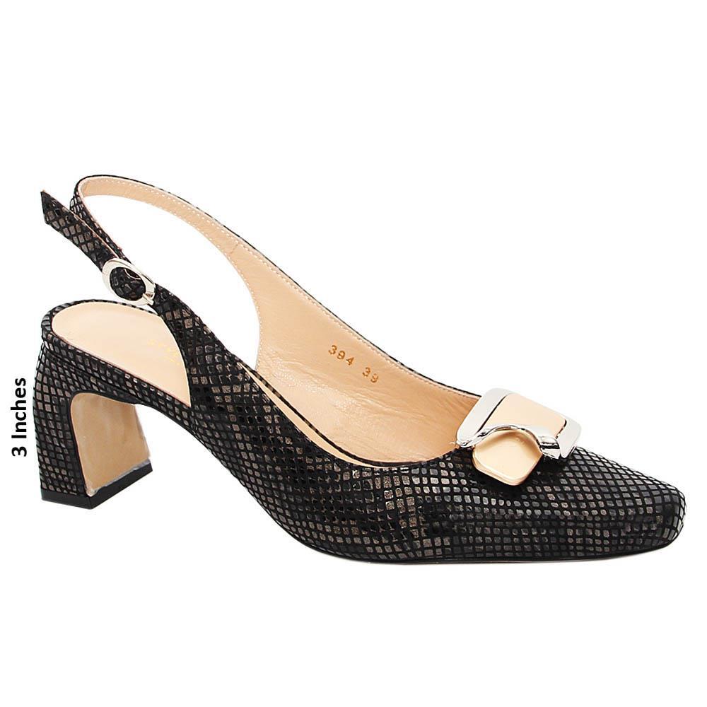 Black Mix Gianna Tuscany Leather High Heel Slingback Pumps