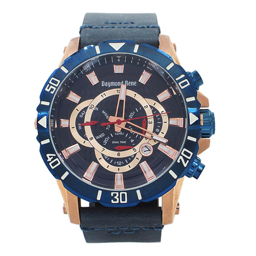Rose Gold Blue Leather Chronograph Watch