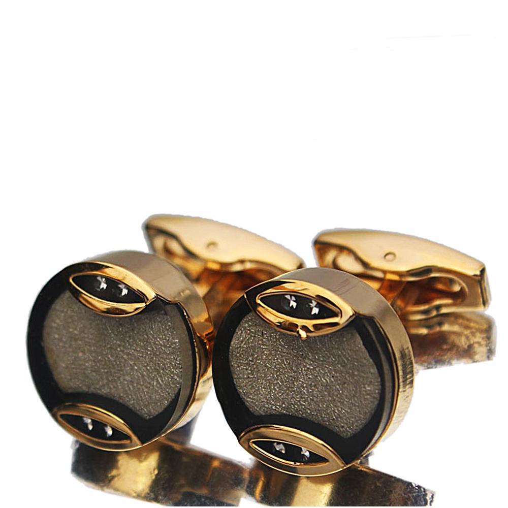 Gold White Black Rim Stainless Steel Cufflinks
