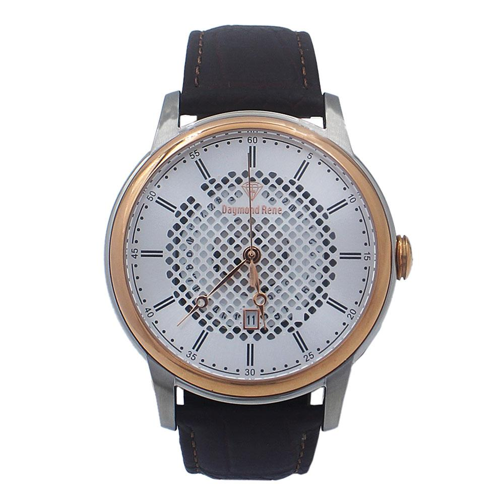 Coffee Silver Leather Watch