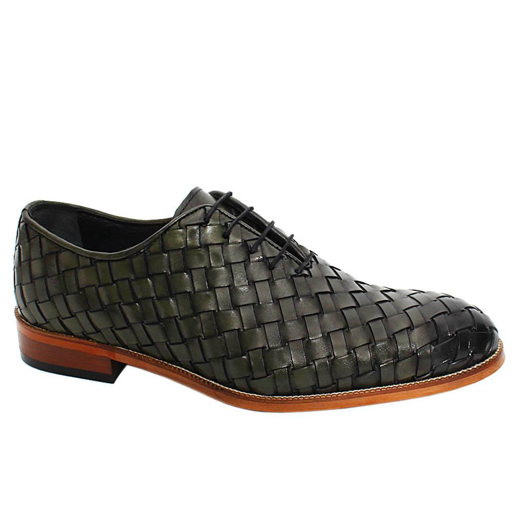 Army Green Apollo Hand-Woven Leather Oxford Shoes