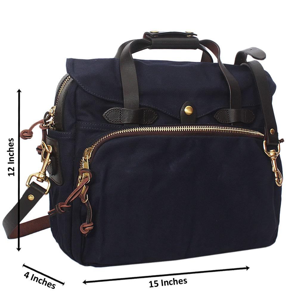 Navy Water Proof Fabric Leather Mix Dual Briefcase