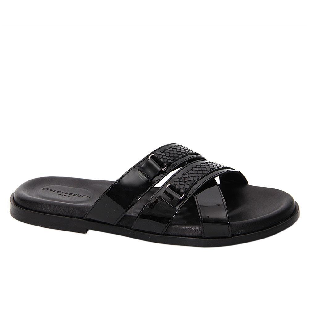 Black Rugan Patent Italian Leather Slippers