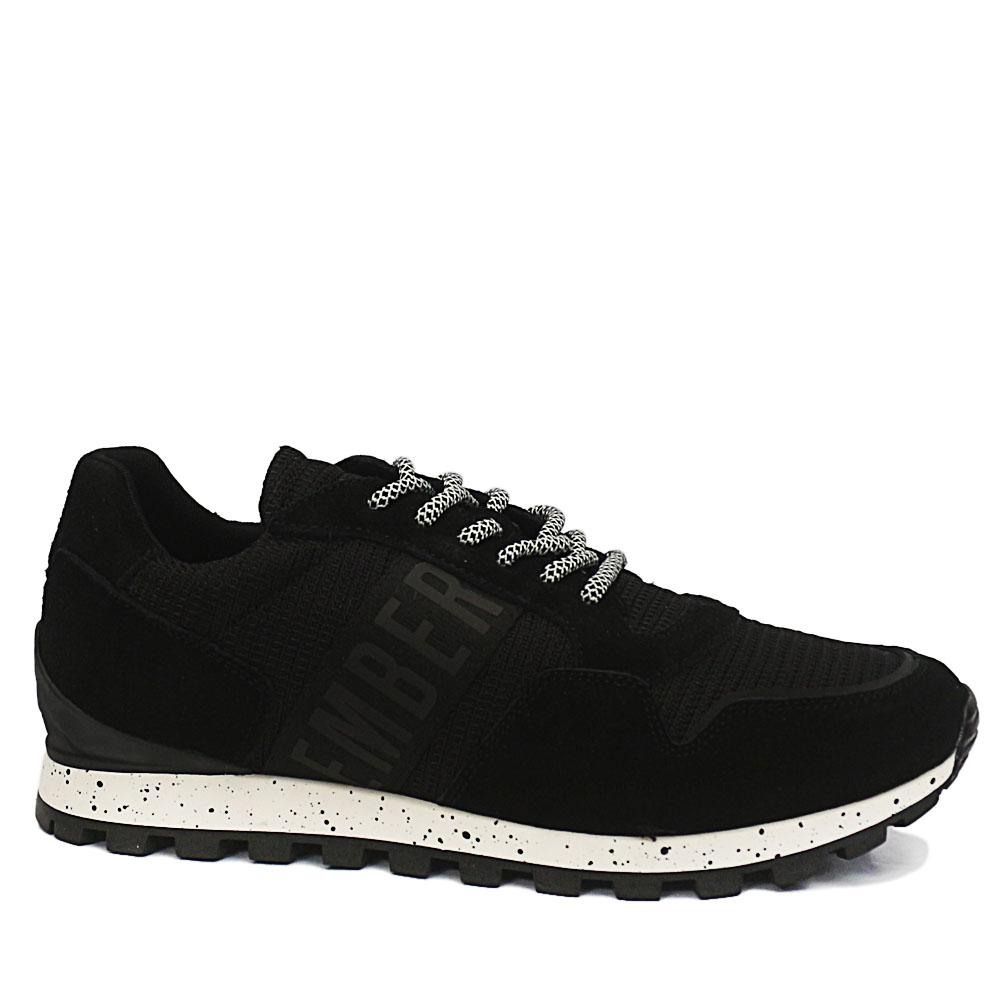 Bergs Black Suede Leather Breathable Sneakers