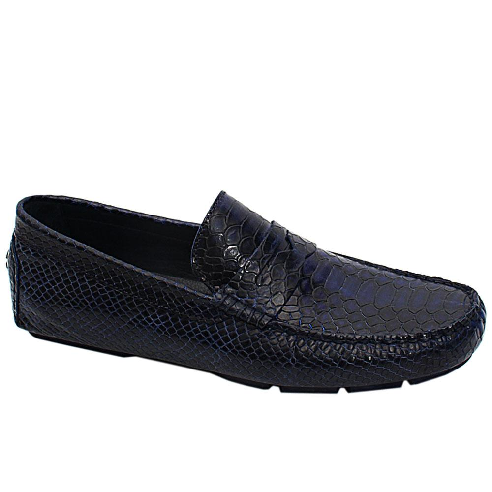 Dark Navy Croc Style Italian Leather Men Drivers