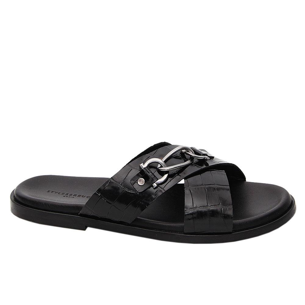 Black Jorge Crossover Italian Leather Slippers