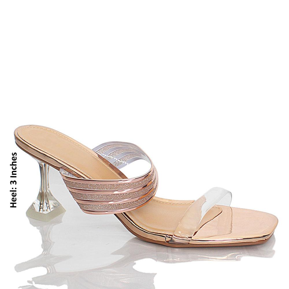 Rose Gold Webster Shimmering Rubber Leather Mules