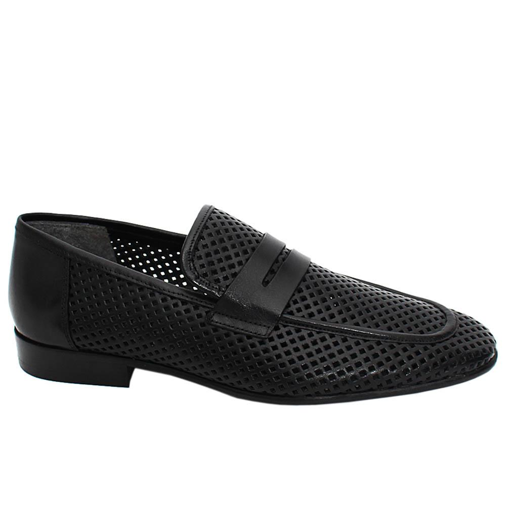 Black Percy Breathable Leather Men Penny Loafers