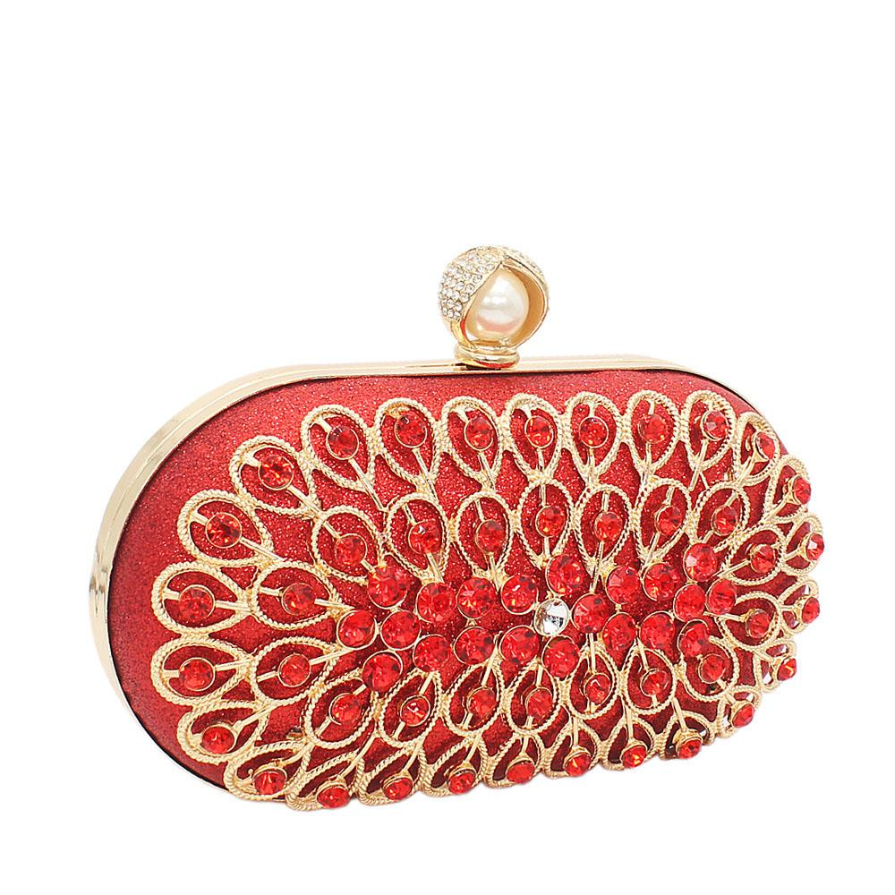 Red Davis Stone Shimmering Clutch Purse