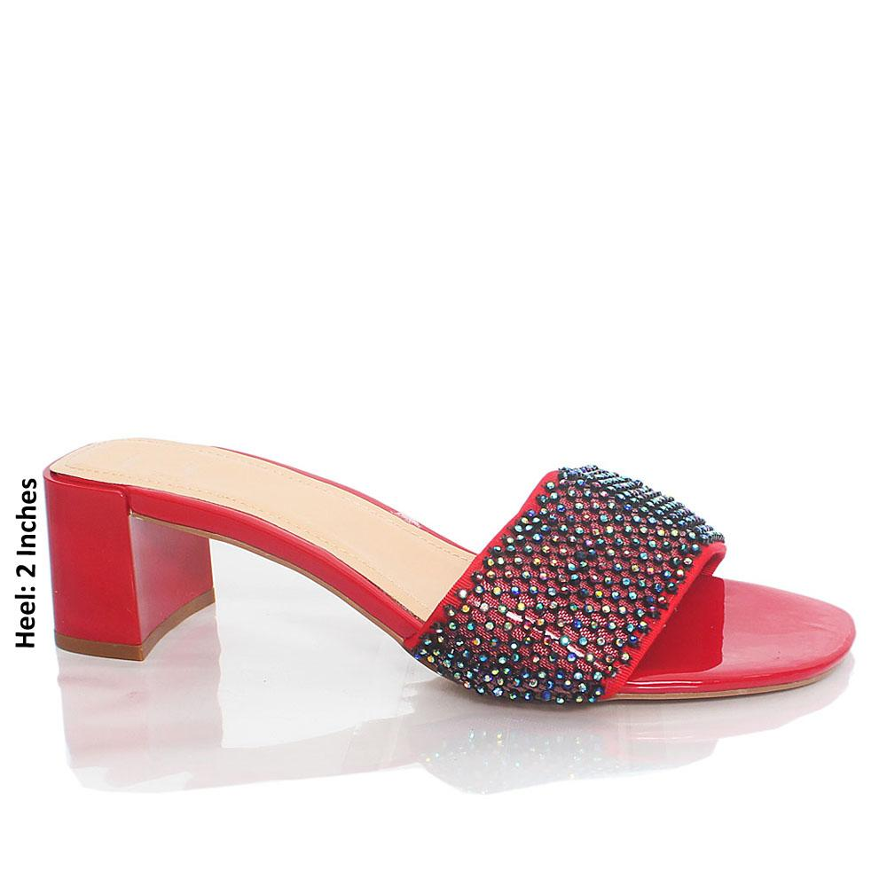Red ZT Kel Crystal Studded Leather Mule