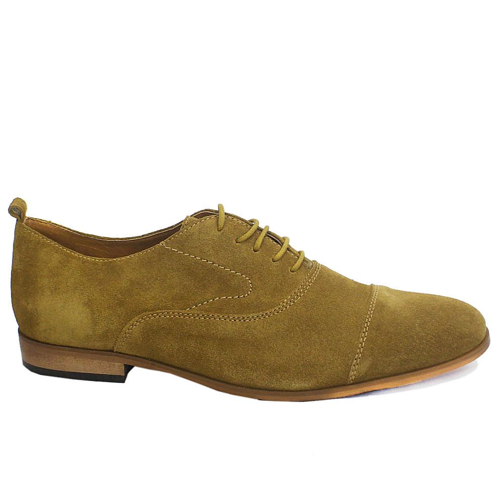 Tan Green Suede Leather Men Oxford Shoes