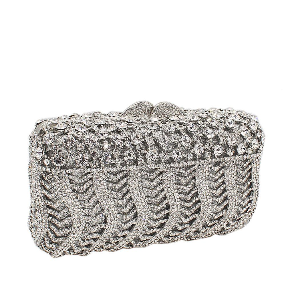 Silver Pearl Embelished Diamante Crystals Clutch Purse