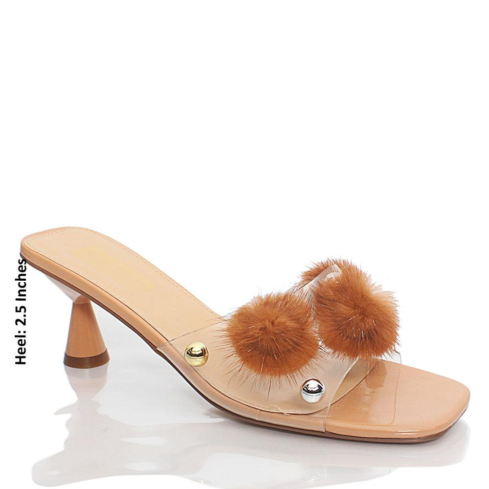 Beige Transparent Rubber Leather Mule