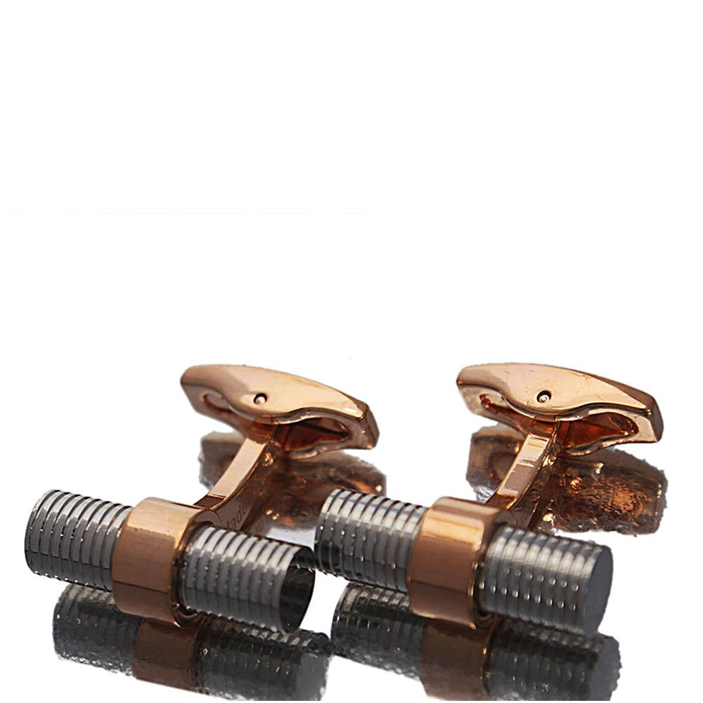 Iron Rose Gold Silver Stainless Steel Cufflinks