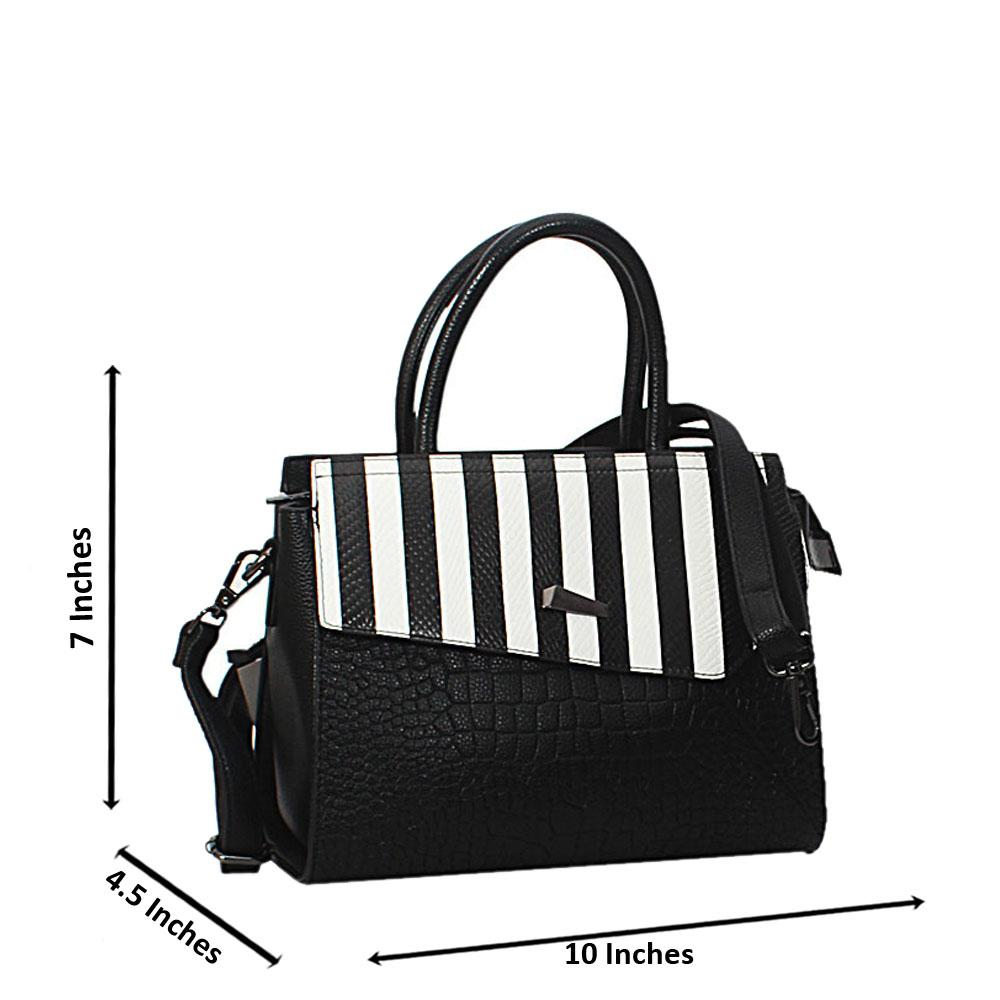 Black White Mix Anna Leather Small Tote Handbag
