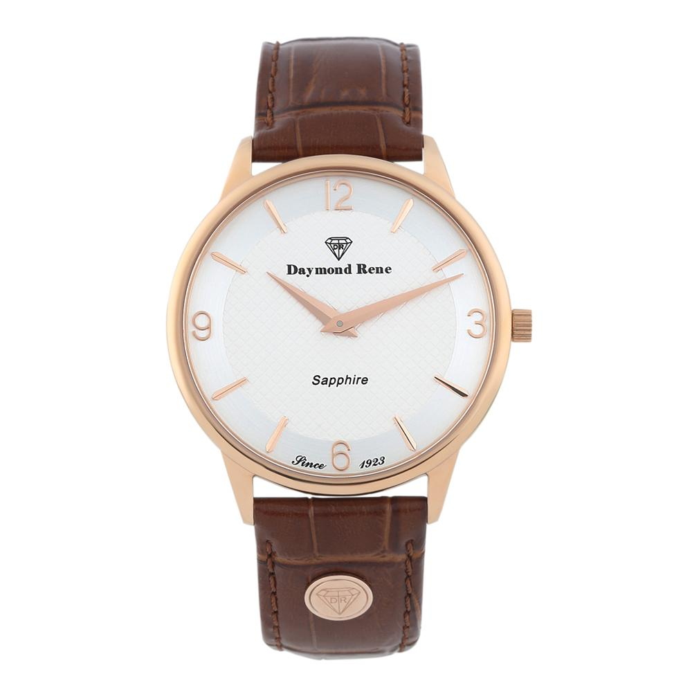 DR 3ATM Brown Sapphire Rose Gold Classic Leather Flat Watch