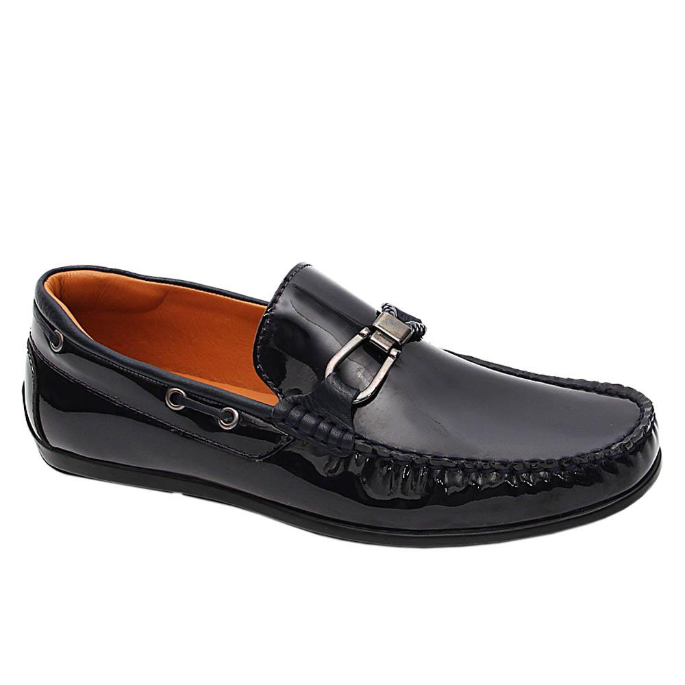 Navy Blue Leandro Patent Italian Leather Drivers Shoe