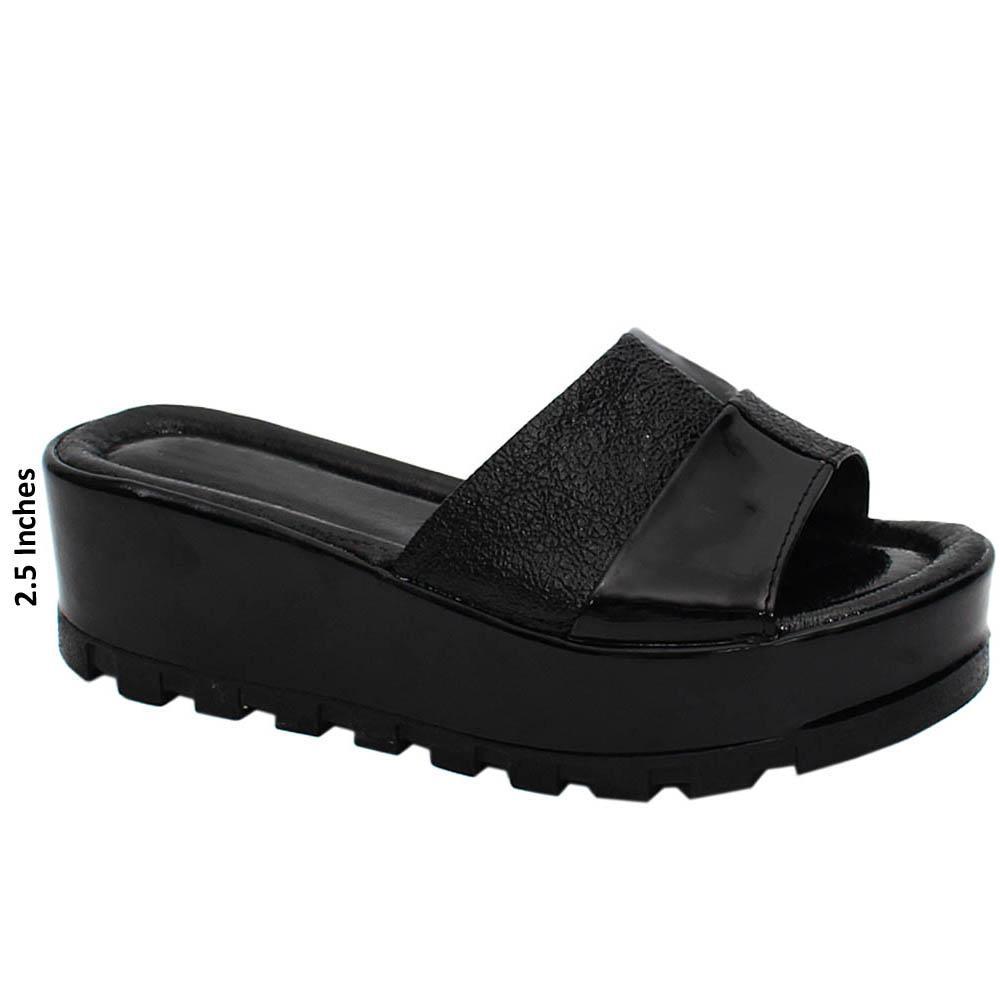 Black Leah Sarah Leather Wedge Heels