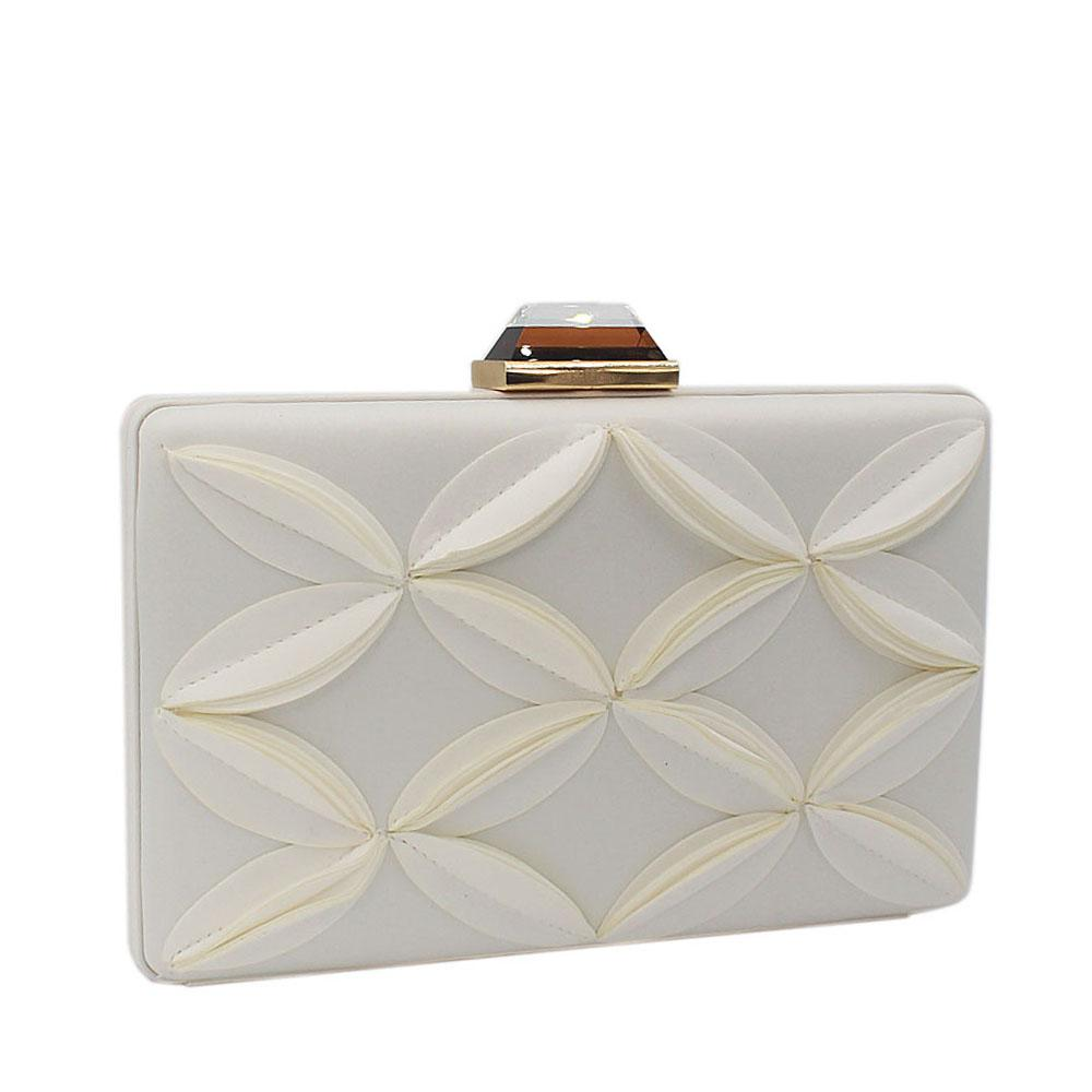 White Satin Flower Patterned Clutch Purse