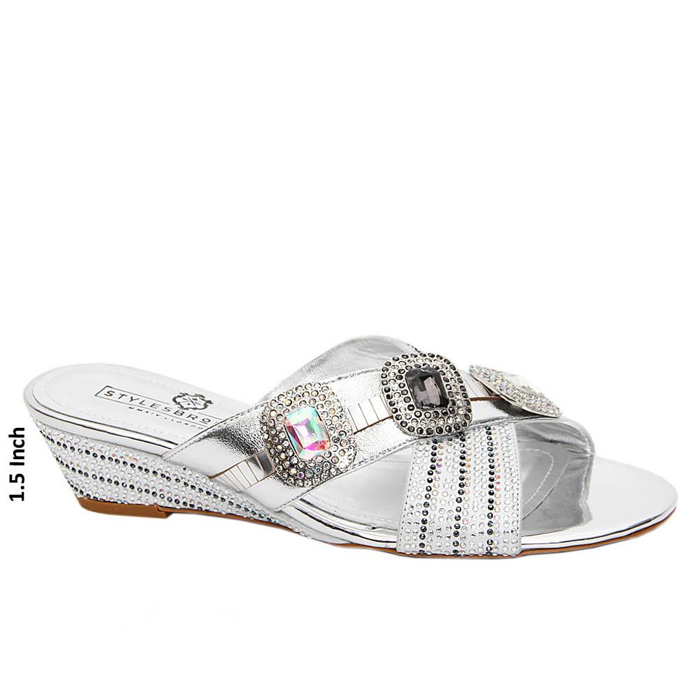 Silver Tiffany Studded Italian Leather Low Wedge