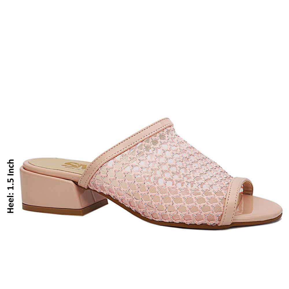 Pink Open Toe Mesh Low Heel Leather Mule