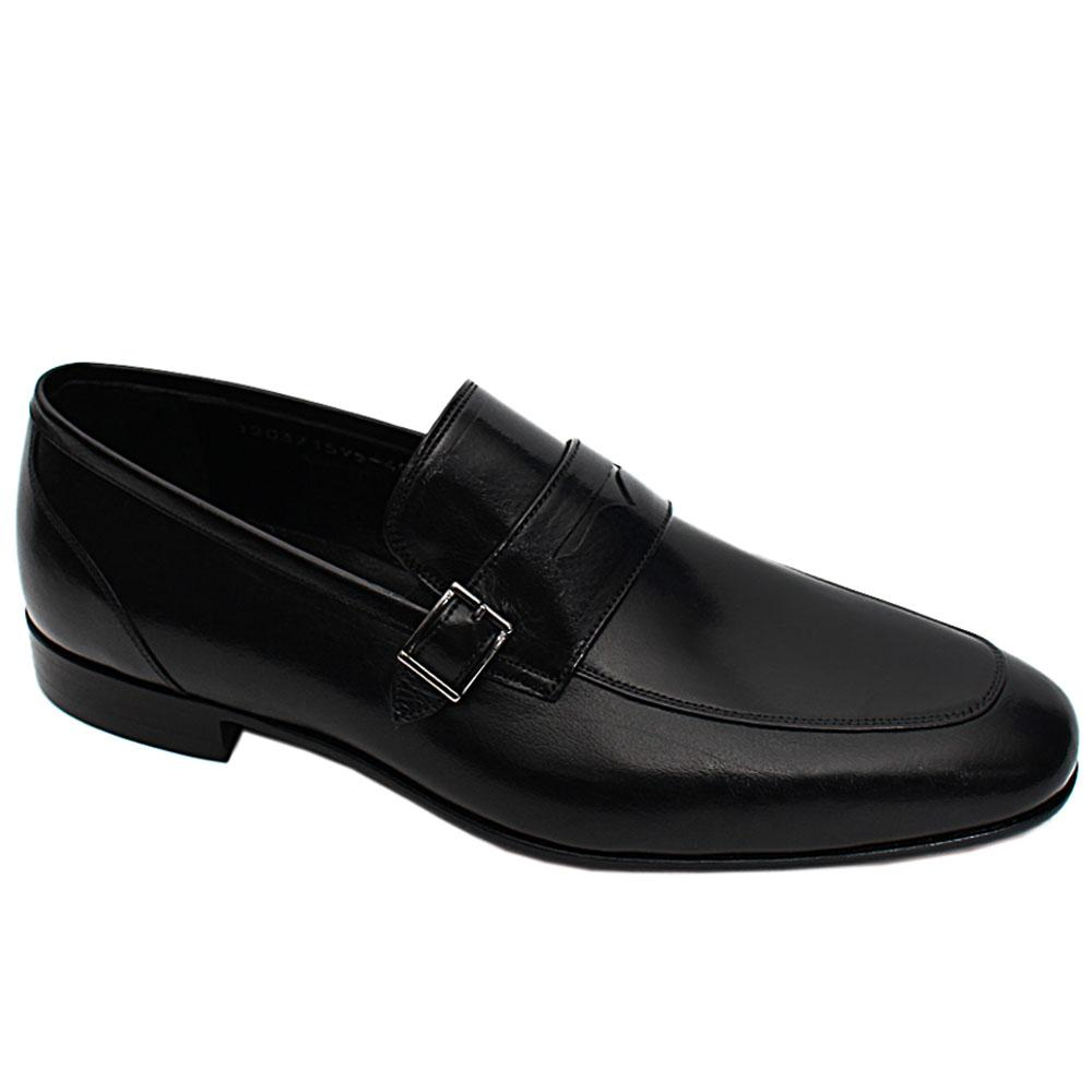 Black Hendrick Italian Leather Men Buckle Loafers