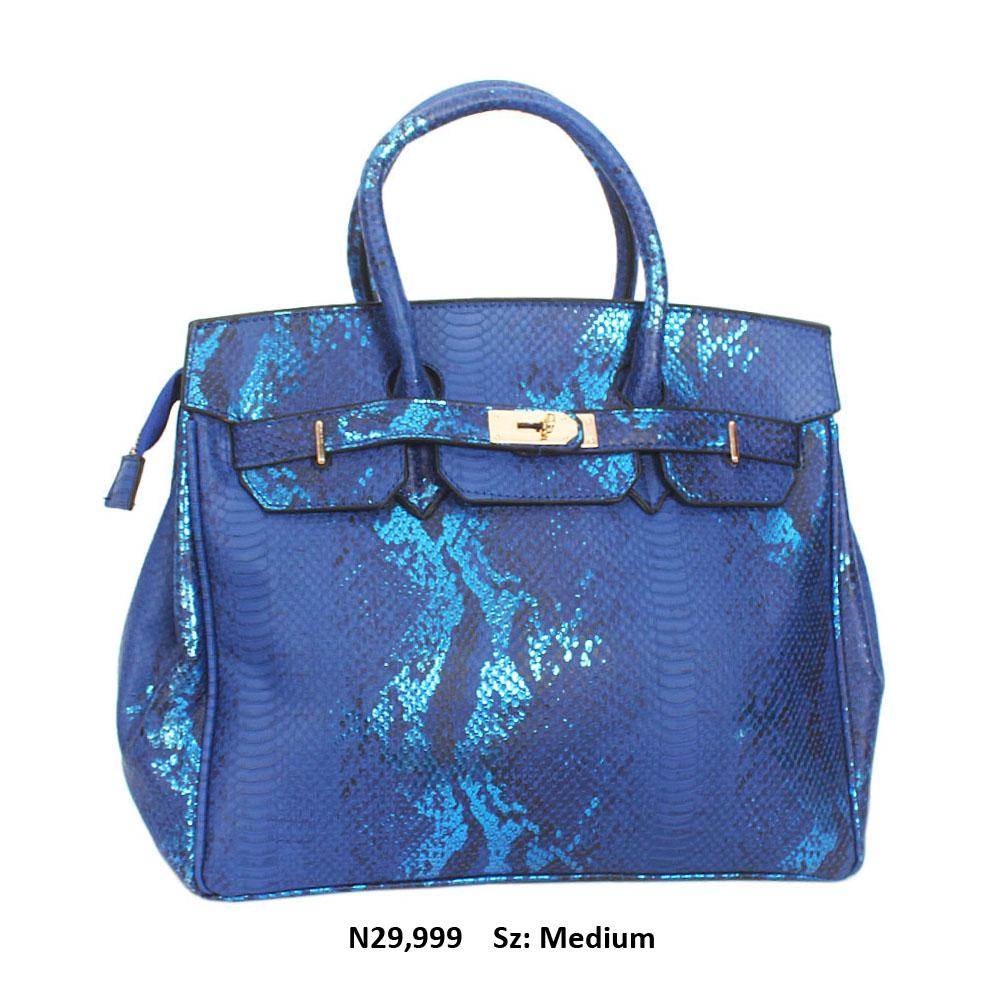 Royal Blue Snake Leather Tote Handbag