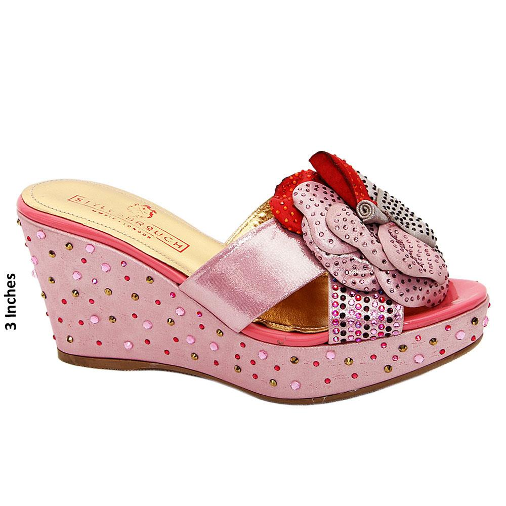 Pink Fernada Studded Suede Leather Wedge