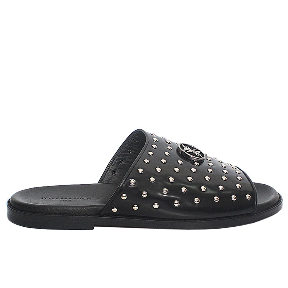 Black Studded Italian Leather Men Slippers