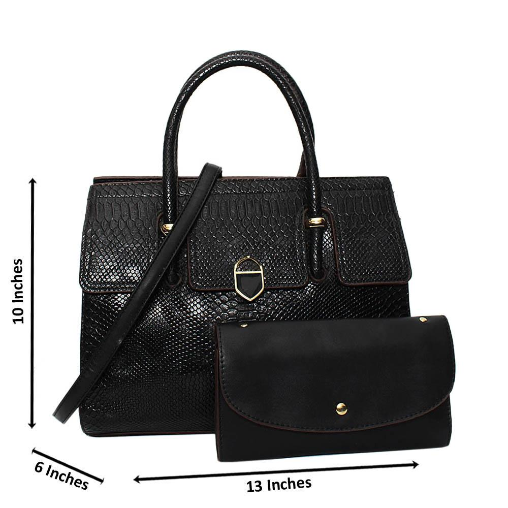 Black Nadia Croc Leather Medium Tote Handbag