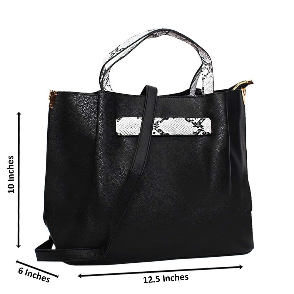 Black Amelia Mix Snake Leather Medium Tote Handbag
