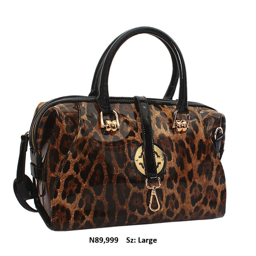 Tessa Alva Brown Black Leopard  Patent Cowhide Leather Tote Handbag